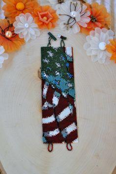 Peyote Stitch American Flag Bracelet Cuff by JewelrybyTheriot on Etsy