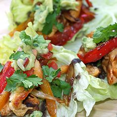 We make our fajitas with lean, protein-rich chicken breast and Greek yogurt instead of sour cream, for a hearty meal without a ton of fat. Enjoy these chicken fajitas in lettuce leaves with our fresh homemade Tex-Mex Salsa.