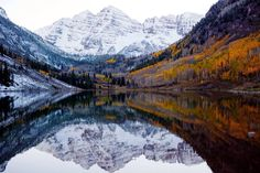 Winter and fall meet in the Colorado Rockies. - Imgur