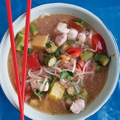 Canh Chua Cá (Sour Fish Soup)    This is one of the few things Chris asks me to make (instead of the other way around!)  Southern Vietnamese - this refreshing soup brightened with tamarind and pineapple. Serve with rice.