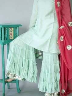 Mint Green Cotton Sharara with Gota Border