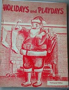Vintage 1950s Santa Claus Christmas Halloween Valentine Hectograph Coloring Book