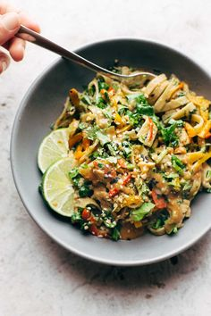 Thai Noodle Salad with Peanut Lime Dressing - veggies, chicken, brown rice noodles, and an easy homemade dressing. | pinchofyum.com