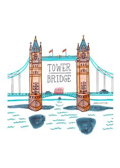 Tower Bridge 5 x 7 Art Print par ellolovey sur Etsy London Kids, London Art, Tower Bridge London, Tower Of London, Bridge Drawing, London Drawing, London Illustration, London Landmarks, London Travel