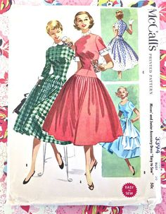 McCalls 3394  Vintage 1950s Dropped Waist Dress by Fragolina
