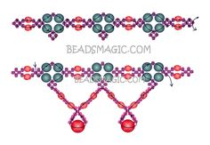 Free pattern for necklace Rojo   Beads Magic U need:  seed beads 11/0  faceted beads 4 mm  faceted beads 8 mm  pearl beads 4 – 6 mm