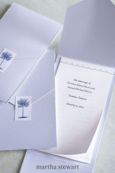 These programs feel like personal letters to your guests. For each, cut a strip of card stock, trim the corners of one end into a point, and fold ends inward to overlap. Stitch computer-printed pages on a sewing machine, and seal with a sticker. #weddingideas #wedding #marthstewartwedding #weddingplanning #weddingchecklist Diy Wedding Programs, Ceremony Programs, Felt Pouch, Glassine Envelopes, Letter To Yourself, Printed Pages, Letter Size Paper, Custom Stamps, Wedding Stationery