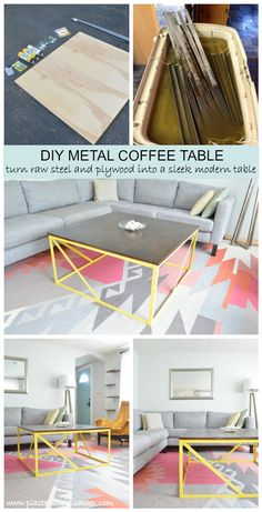 DIY a modern metal coffee table from raw steel and plywood -- Plaster & Disaster