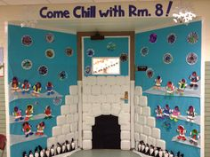"Winter door decorating... Igloo-Eskimos-penguin craft. ""Come Chill with Rm.8"""