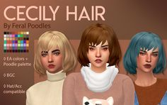 Cecily Hair - Maxis Match CC A fluffy lil bob that literally took me a month to fix/figure out! But I guess I'm wiser for it now which is good, and I really like how it came out,. Short Bob Hairstyles, Hairstyles With Bangs, Girl Hairstyles, Sims 4 Mm Cc, My Sims, Sims 4 Mods, Maxis, Felicity Hair, Sims Hair