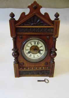 Victorian German Wooden Carved Bracket Clock 13-1/2 x 7-3/4 x 5.0 ins for repair