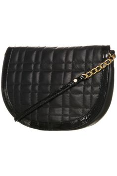 Leather and patent black crossbody bag
