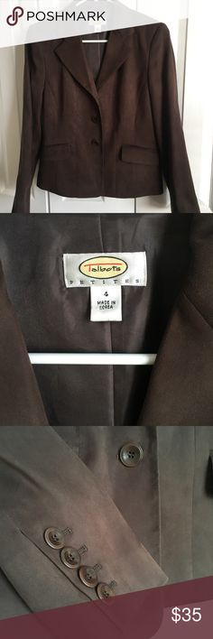 Talbots Petites 4P Soft Brown Suede Blazer NWOT Talbots Petites 4P Soft Chocolate Brown Suede Blazer NWOT- truly soft suede, faux pockets on front, 3 brown buttons in front and 4 buttons on each sleeve, fully lined Talbots Jackets & Coats Blazers