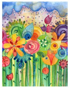 Bring May Flowers -  Watercolor Print Lauren Alexander 8x10 limited edition