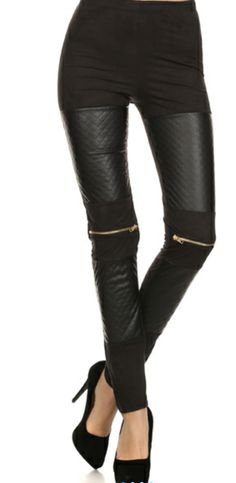 Zip and Leather Leggings