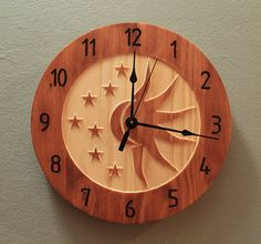 10.5 inch Celestial sun and moon clock by BunBunWoodworking