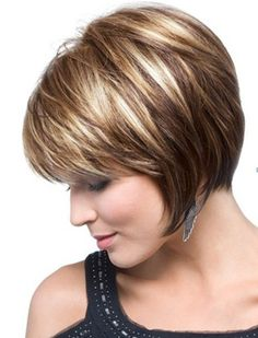 Chin-length, Layered Bob w/ Bangs .. blonde highlights to darker ....... love it & the color!