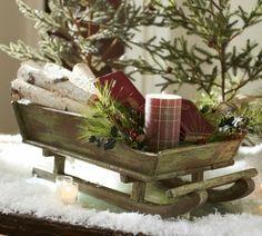 Κεριά ρουστίκ τραπέζι έλκηθρο χιόνι διακόσμηση