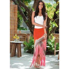 Venus Fringe Tie Dye Maxi Skirt ($42) ❤ liked on Polyvore featuring skirts, tie dye long skirts, fringe skirt, fold over skirt, ankle length skirt and long fringe skirt