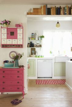Pink dresser and a dream bachelorette pad.