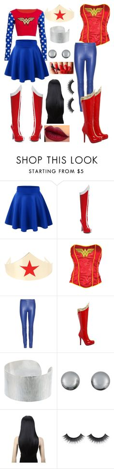 """""""Wonder Woman Costume"""" by perfectlypinky ❤ liked on Polyvore featuring Emilio Pucci, Jigsaw and Kenneth Jay Lane"""