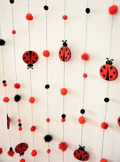 Pompon and ladybird garland.Baby boy and girl birthday decoration.Handmade and ready to ship! Baby Girl Birthday, First Birthday Parties, Birthday Party Decorations, First Birthdays, Frozen Birthday, 2nd Birthday, Party Favors, Miraculous Ladybug Party, Ladybug Crafts