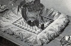 Ruffles and Forget-Me-Nots Centerpiece crochet pattern originally published by Lily Design, Book 51, in 1950.