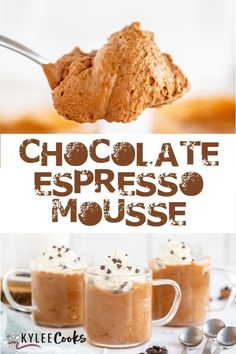 Chocolate Coffee Mousse: Coffee and chocolate blend perfectly and it's just 5 ingredients! Perfect for making ahead, and enjoying after dinner #dessert #chocolate #mousse #kyleecooks