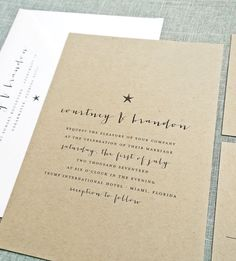 NEW Courtney Recycled Kraft Beach Wedding Invitation with Navy Starfish and Script by Cricket Printing