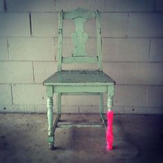 Neon Legs: So fascinated by this concept. My kitchen chairs may be closer to that much needed makeover.