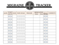 Free printable migraine tracker Most headaches can be treated effectively with medication, but certa Headache Remedies, Chronic Migraines, Chronic Pain, Chronic Illness, Fibromyalgia, Headache Tracker, Common Medications, Organizers, Journaling