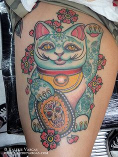 sugar skull kitty with lillies | skull cat cat sugar skull tattoo middot found on blog ditz revolution ...