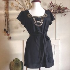 MERONA Black & Gold Top Light weight top with adjustable tie back with gold accented trim collar  Merona Tops Blouses