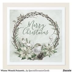 Shop Winter Wreath Poinsettia & Bird Christmas Paper Dinner Napkins created by SpecialOccasionCards. Christmas Paper Napkins, Paper Dinner Napkins, Christmas Holidays, Christmas Wreaths, Wedding Napkins, Wedding Table, Embroidered Towels, Christmas Poster, Wreath Watercolor