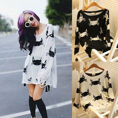 Cat Sweater - Black or White