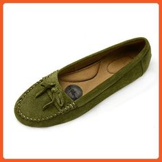 Pluggz Olive Suede Grounding Moccasin 7.5 M Us - Loafers and slip ons for women (*Amazon Partner-Link)