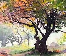 Watercolor landscape paintings - landscape prints - Maud Durland