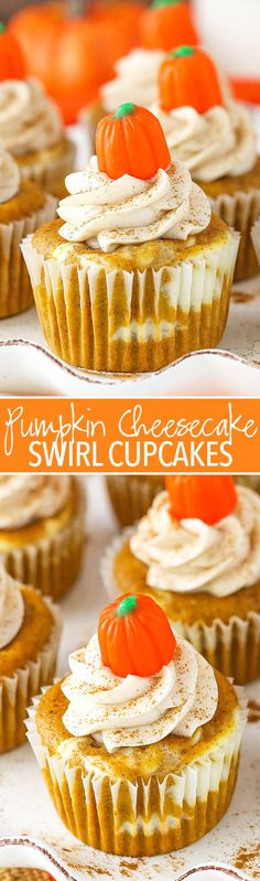 Pumpkin Cheesecake Swirl Cupcakes - layers of pumpkin cupcake and cheesecake! These Pumpkin Cheesecake Swirl Cupcakes are a fun combination of pumpkin cake and pumpkin cheesecake all in one easy-to-eat cupcake! Mini Desserts, Holiday Desserts, Just Desserts, Delicious Desserts, Yummy Food, Wedding Desserts, Wedding Cakes, Oreo Dessert, Pumpkin Dessert