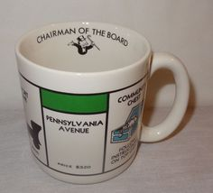 Monopoly Chairman Of The Board 1984 Coffee Mug Cup #41606 Korea 13 oz #Monopoly