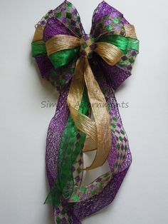 Mardi Gras Wreath Bow Purple Gold Green by SimplyAdornmentsss