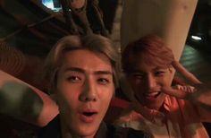 // sehun and jongin Suho Exo, Exo Kai, Sekai Exo, Reaction Face, Kim Minseok, Exo Korean, Exo Memes, Shownu, Man Crush