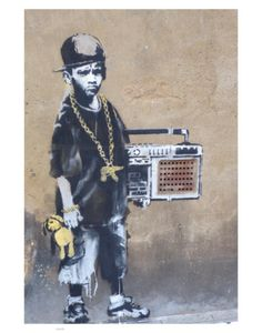 Ghetto Blast Boy by Banksy... I find this interesting. Boy mixed with man forced to be an adult while still being a child.