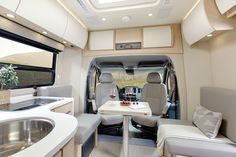 View photos of the Unity Class C RV by Leisure Travel Vans. See photos, videos, floorplans and more of the luxurious Unity, built on the Mercedes Sprinter Cab Chassis. Leisure Travel Vans, Rv Travel, Budget Travel, Camping Con Glamour, Travel Trailer Organization, Camping Organization, Minivan Camping, Travel Trailer Remodel, Travel Trailers