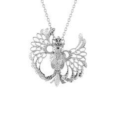 Lumoava Fantasia Silver Owl Pendant, design by Carina Blomqvist Owl Pendant, Pendant Design, Pendant Necklace, Pendants, Necklaces, Diamond, Silver, Gifts, Jewelry