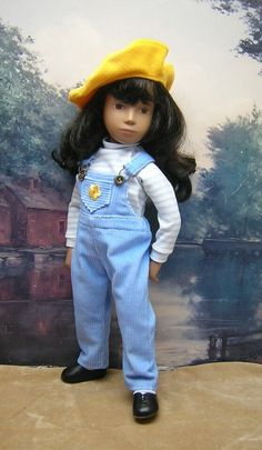 Three-piece Blue Overalls Set to fit 17 inch by BevBeeseDollyTogs