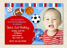All Stars Sport Custom Photo Birthday Party invitations Soccer Baseball. $12.59, via Etsy.