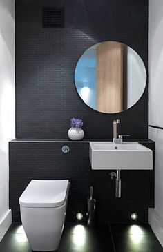 black tiles, Cloud Studios is the London-based interior design firm of Nia Morris and Louise Holt. Beautiful Bathrooms, Modern Bathroom, Small Bathroom, Minimalist Bathroom, Modern Toilet, Dark Bathrooms, Guest Toilet, Small Toilet, Guest Bath