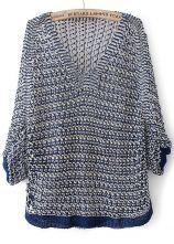 Navy V Neck Half Sleeve Hollow Kint Sweater