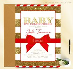 winter baby shower, red ribbon, christmas invitation, invitation, baby its cold outside, cheap, invite, christmas invite, ribbon, red invite, snowflake, candy cane, stripes