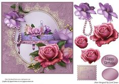 Topper Elegant 6 on Craftsuprint designed by Carol James - Beautiful flowers on a oval shape with a lace surround embellished with pearls. Some decoupage pieces for that 3d effect. 1 sentiment tags and 1 blanks are provided. Greeting included is 'Happy Birthday'. Can be used for lots of different occasions. A stamp image is also included for you to use as a gift tag, an insert or on the back of the card. - Now available for download!